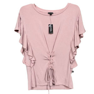 Express Pink Lace Up Design Top - XS - NEW!